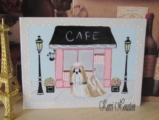 Shih Tzu CAFE Painting, Hand Painted Original Artwork