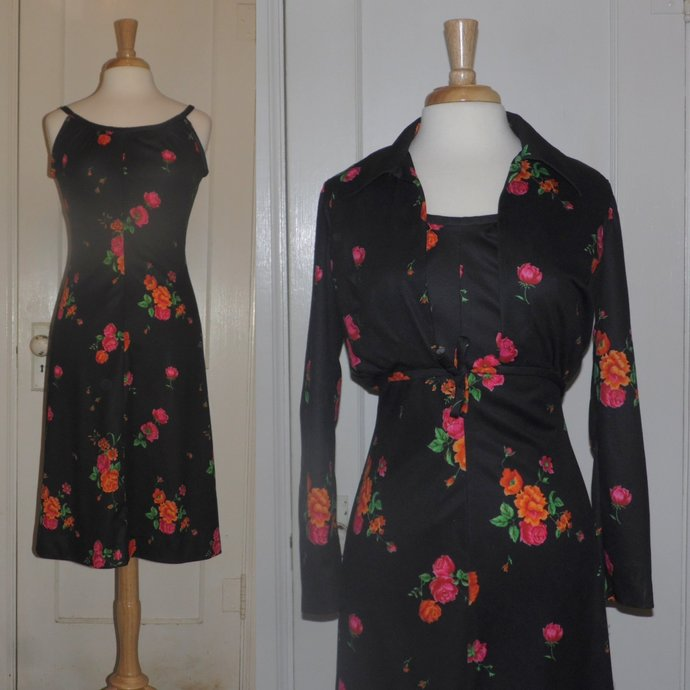 Vintage 70s De Laix Disco Dress and Jacket with Pink and Orange Flowers on Black