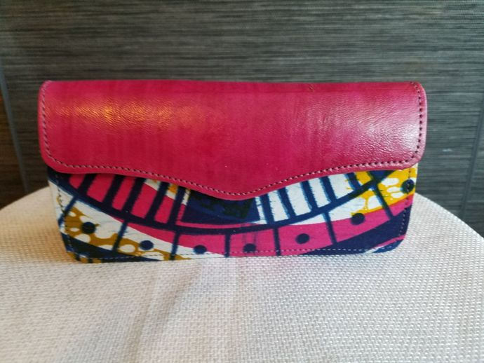 African Print Leather Accordion Wallet