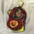 118B Large Fused Dichroic Glass Pendant in Red, Gold & Orange