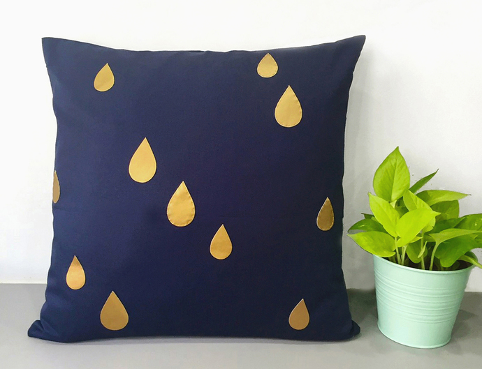Custom Your Color. Gold Raindrops Navy Decorative Pillow Cover. 17inch Metallic