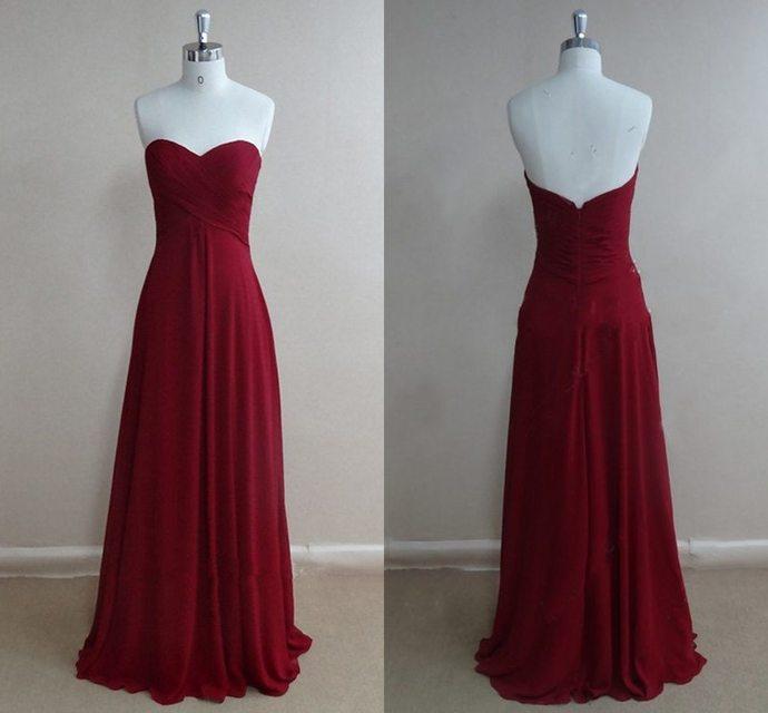 Cheap Simple Long Prom Dresses, Burgundy Prom Dress Long, Chiffon Prom Dress,
