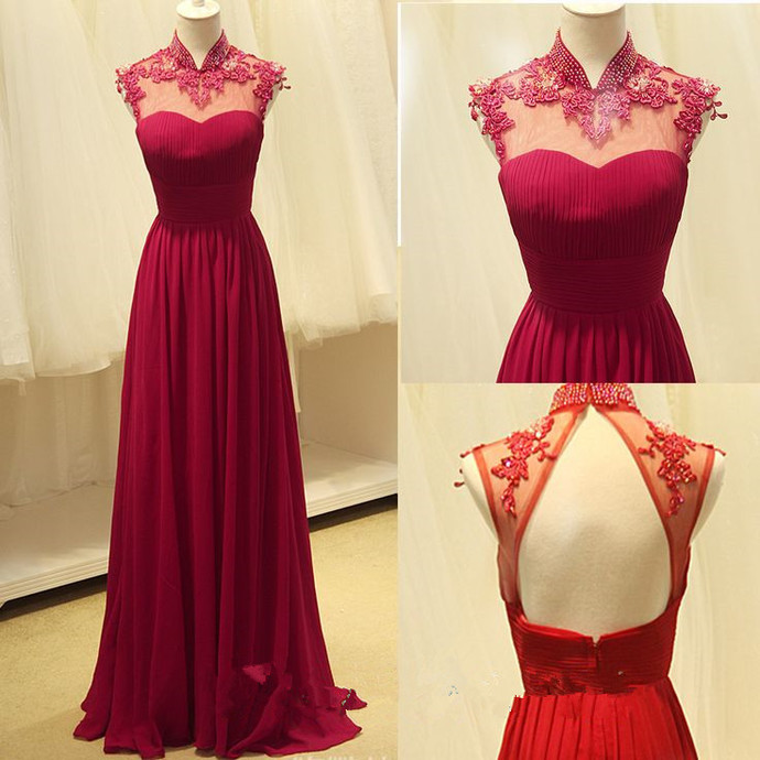 High Quality Handmade A-line Rose-Red Chiffon Floor Length Backless Prom Gown