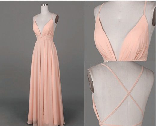 Spaghetti Straps Charming Prom Dresses,Long Evening Dresses,V-Neck Prom Dresses