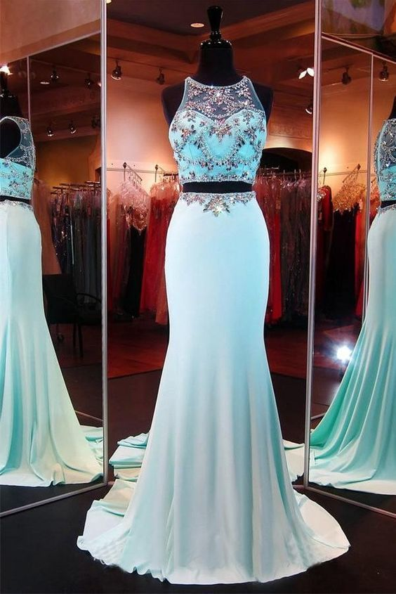 Blue Long Two Pieces Prom Dress, Cap Sleeves Beaded Prom Dresses, Long Prom