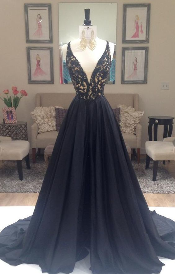 bf356b591aebd V-Neck Lace Long Charming Prom Dresses, Floor-Length Evening Dresses,Prom