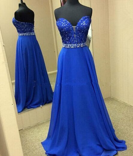 New Fashion Prom Dresses,Lace Prom Gown,Royal Blue Evening Gowns,Lace Party