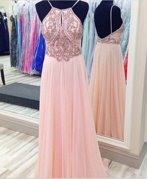 A-Line Long Prom Dress, Evening Dress, Beading Prom Dress