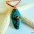 Chrysocolla Pendant, Blue Green Gemstone, Copper Wire Wrap, Rustic Jewelry, Boho