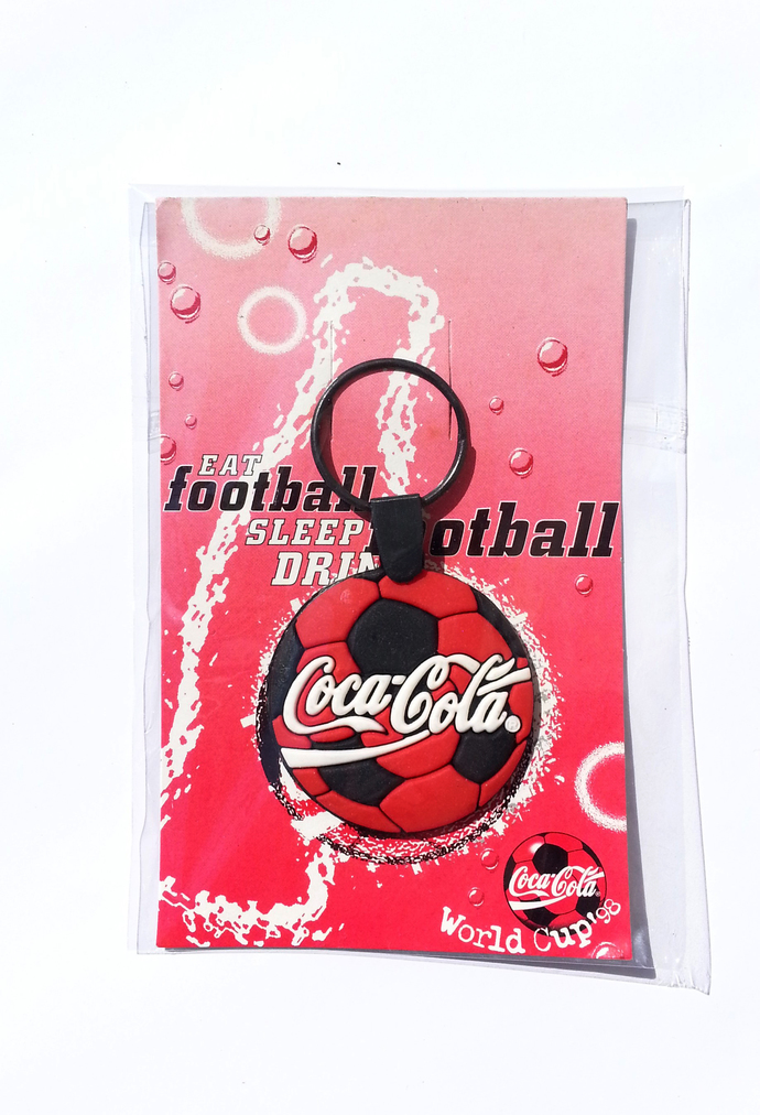 Coca Cola 1998 Fifa World Cup 2-D Football Shaped Rubber Keychain Key Ring - New