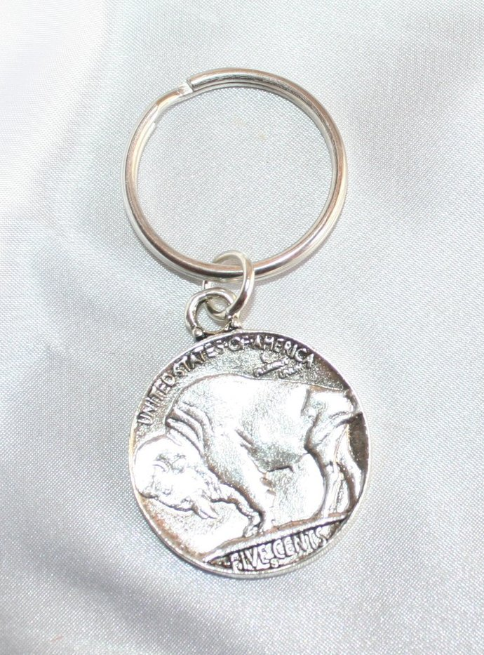 Indian Head and Buffalo Keyring, Antique Silver Coin Keychain, Indian Head