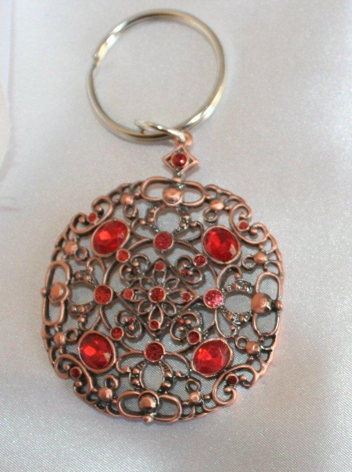 Copper Keyring, Ornate Rhinestone Medallion Key Chain, Round Copper Key Holder