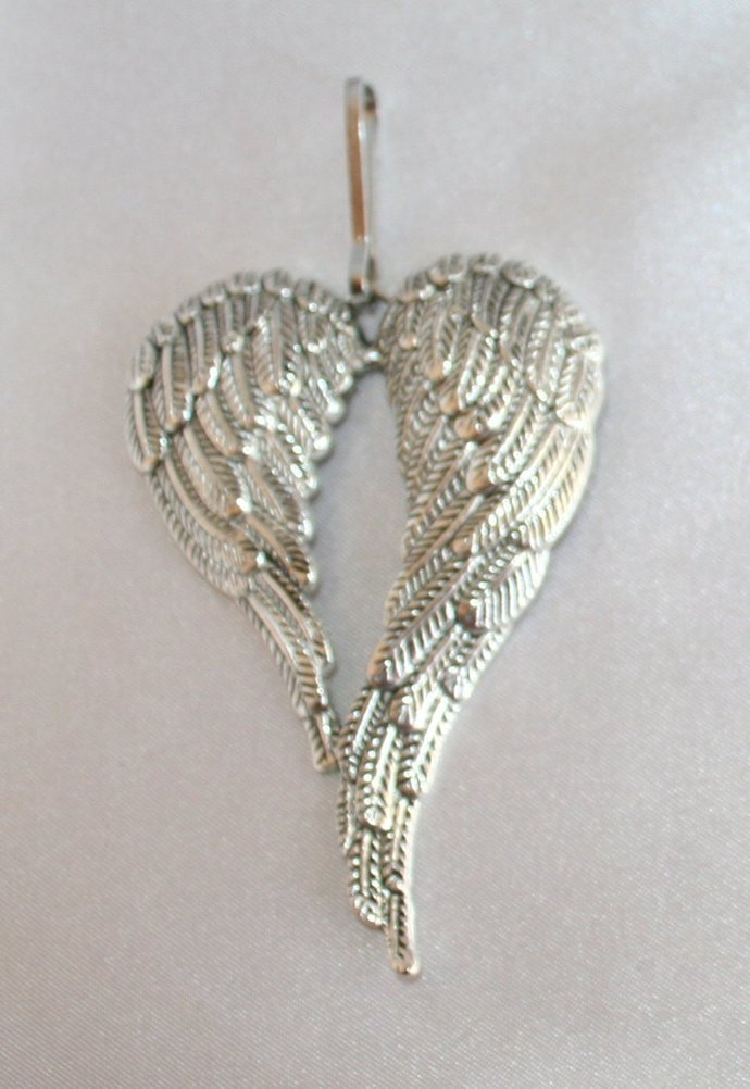 Antique Silver Angel Wing Zipper Pull, Wing Jacket Pull, Purse Jewelry, Zipper