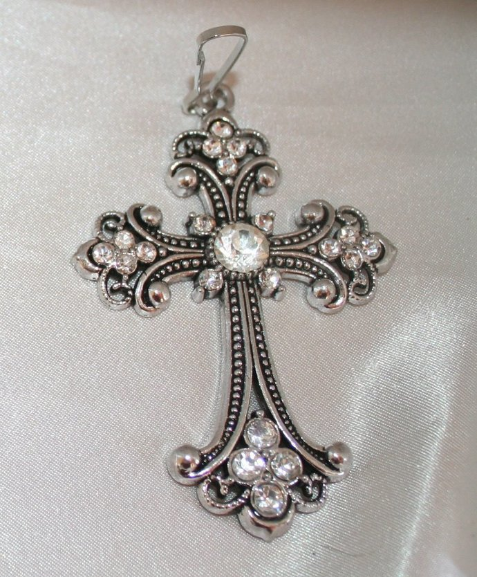 Large Crystal Retro Cross Zipper Pull, Rhinestone Cross Purse Charm, Antique