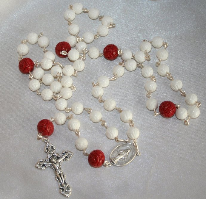 Carved Red and White Coral Rosary, 5 Decade Traditional Catholic Rosary,  Handcrafted Gemstone Rosaries, Italian Crucifix and Rosary Center
