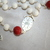 Carved Red and White Coral Rosary, 5 Decade Traditional Catholic Rosary,