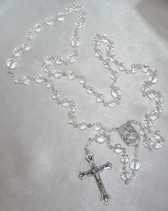 Clear Crystal 5 Decade Rosary, Handcrafted Catholic Rosary, Faceted Crystal