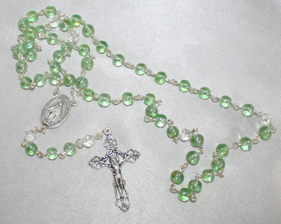 First Communion Crystal Green Rosary, Girls Petite Crystal 5 Decade Catholic