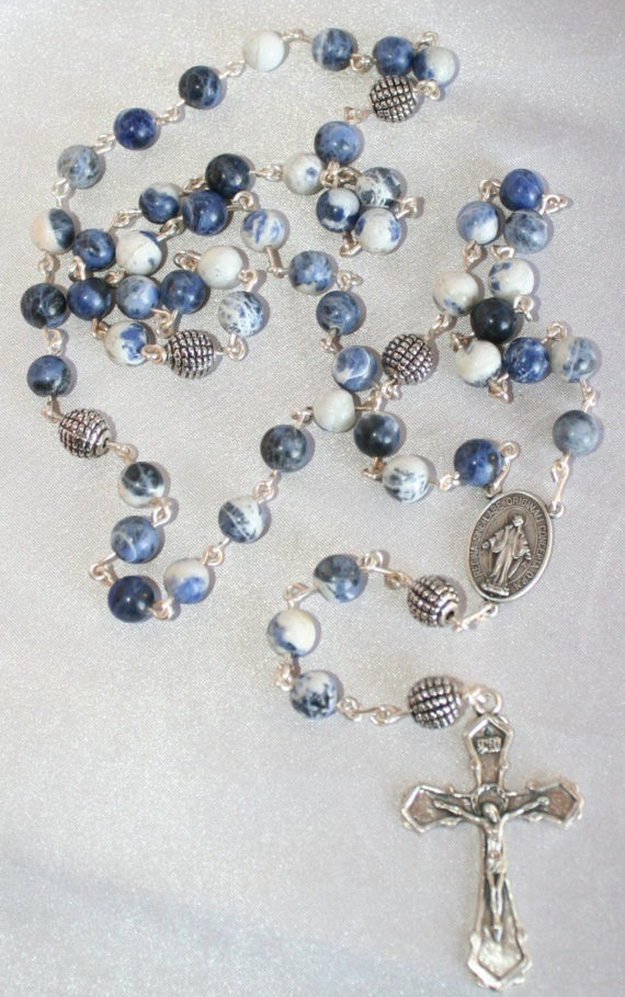 Boy's Blue White Sodalite Rosary, 5 Decade Traditional Catholic Rosary,