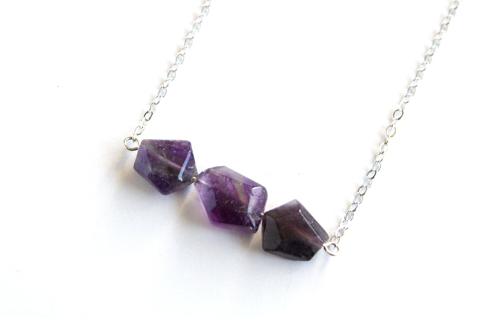 Amethyst Necklace Sterling Silver Chain Natural Stone February Birthstone