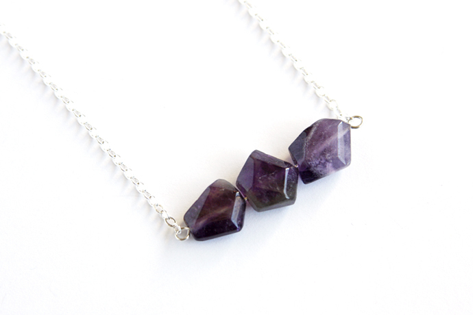 Amethyst Sterling Necklace Natural Stone February Birthstone Sterling Chain
