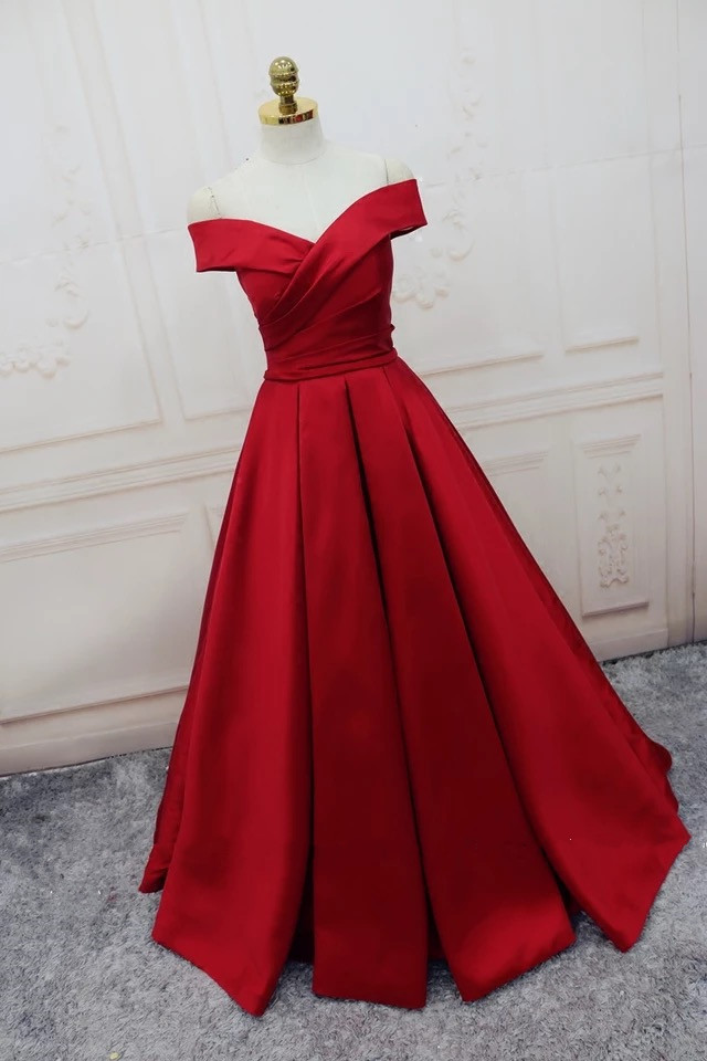 Charming Satin Prom Dress, Plus Size A Line Prom Dress,Red Woman Evening  Dress,Formal Evening Dresses, Simple Prom Dress, Lace-up Prom Dress