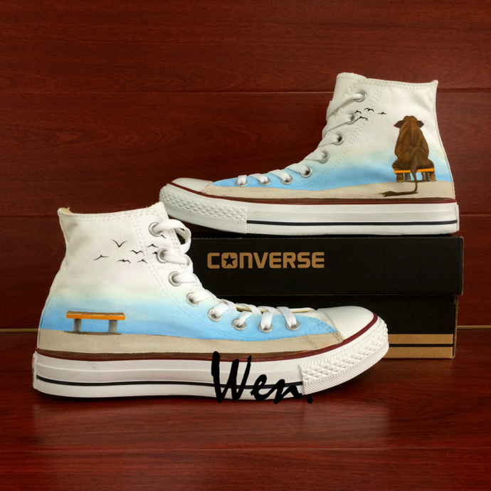 Athletic Converse Chuck Sneakers Original Design Elephant Seagulls Hand Painted