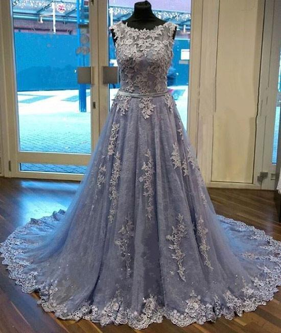 Unique Round Neck Lace Tulle Long Prom Dress, Lace Evening Dress, Dusty Blue