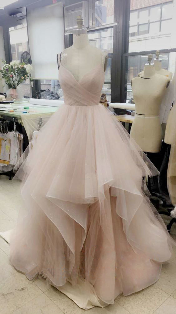 05ae5648f31 Elegant V Neck Tulle Long Prom Dress