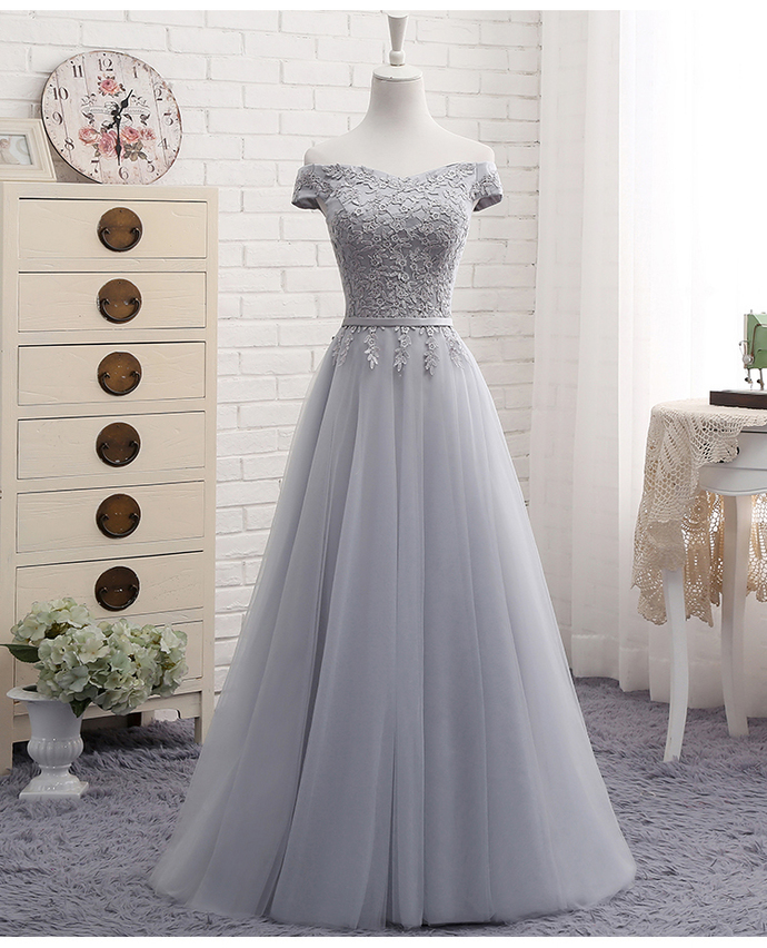 6146fbb395 Gray Tulle Lace Prom Dress