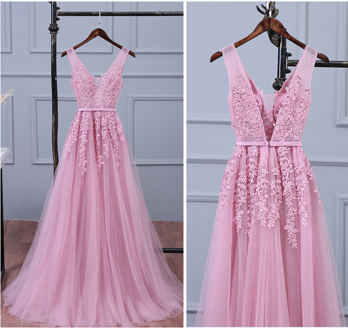 Lace Appliqued Tulle Long Prom Dresses,Sexy V Neck Prom Dresses, Woman's Evening