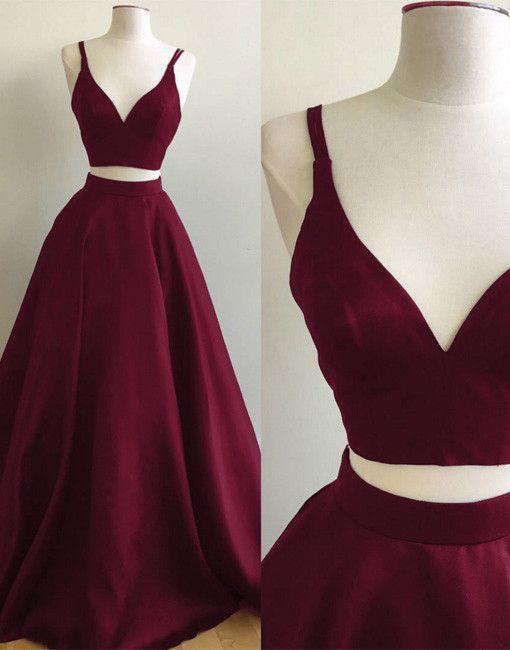 Burgundy Two-Piece Prom Dresses Straps Sleeveless by lass on Zibbet