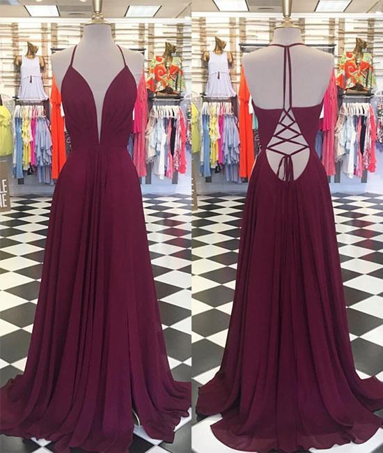 Simple V Neck Chiffon Backless Long Prom Dress, Evening Dress, Deep V Prom