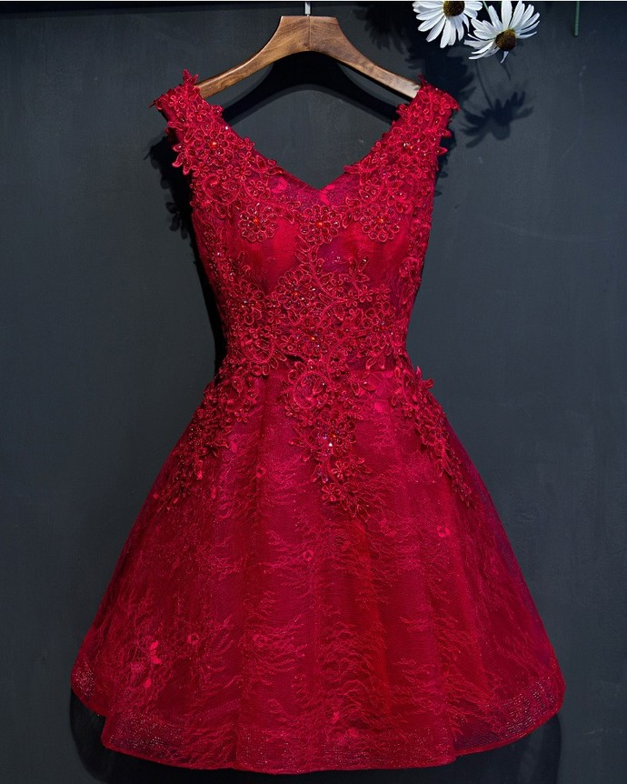 Short Lace Beading Prom Dress, Short Prom Dress, Red by lass on Zibbet