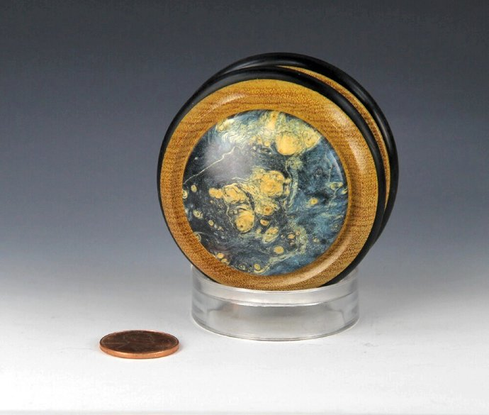 Handmade Toy YoYo, Fixed Axle Imperial...Yellowheart Wood and Dyed Maple Burl