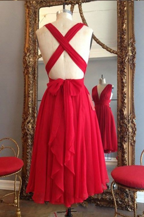 Sexy Cocktail Dress, V-neck Party Gowns, Red Homecoming Dresses, Backless Prom