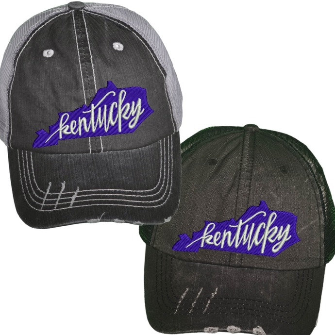 a7565e7a ... purchase blue state of kentucky trucker adult custom distressed trucker  hat vintage low 61ee7 1f0c8