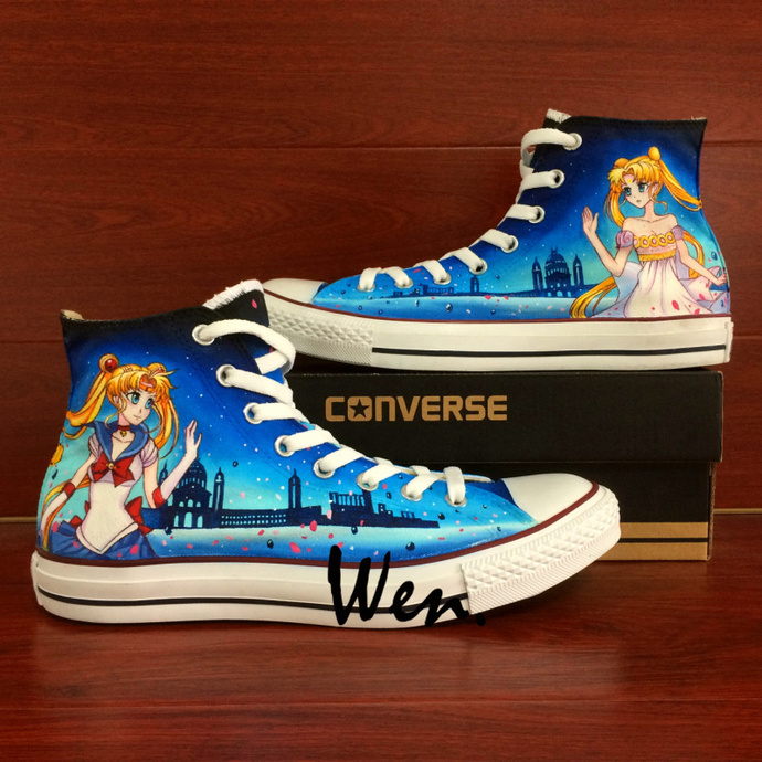 a901aac17293 Shoes Canvas Men Women Anime Sailor Moon Hand Painted Shoes Converse Chuck