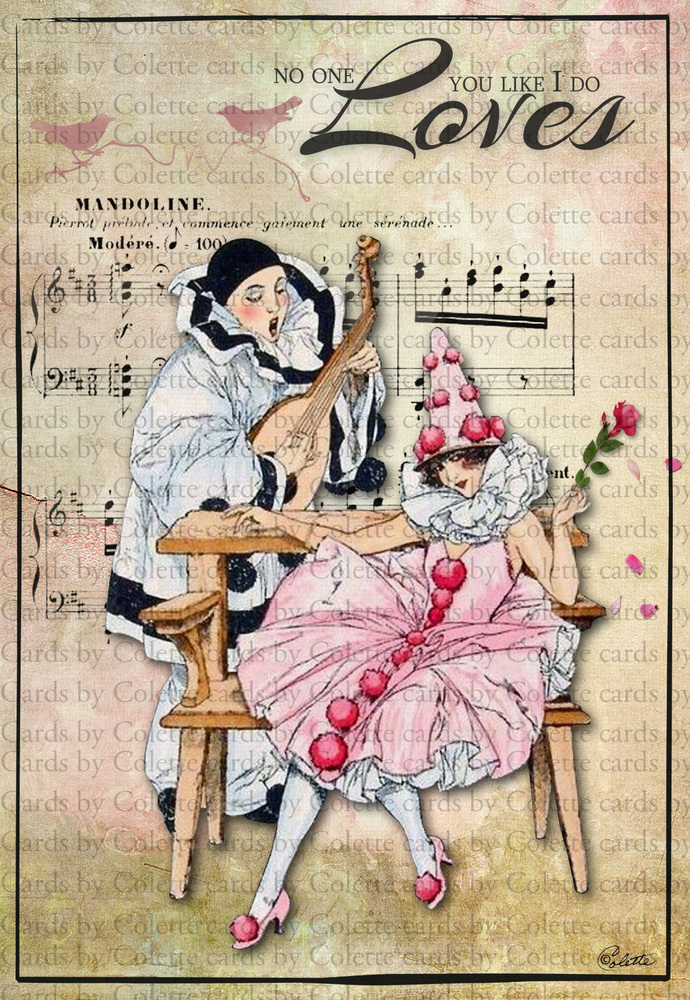 Pierrot and Columbine Love Digital Collage Greeting Card999