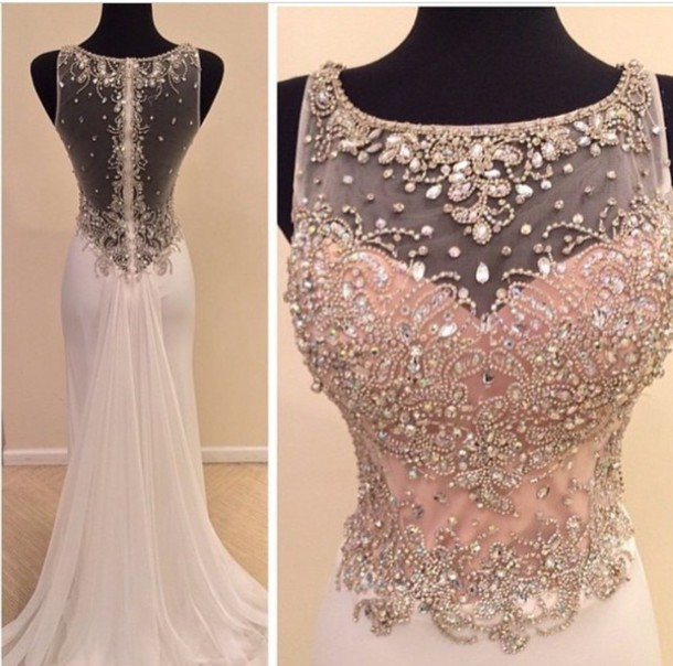 Custom Made Round Neck Sweep Train Prom Dresses, Long Evening Dresses ,Formal