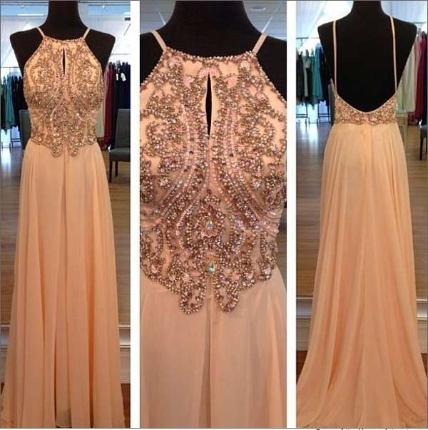 Light Peach Long Prom Dresses, Straps Prom by lass on Zibbet
