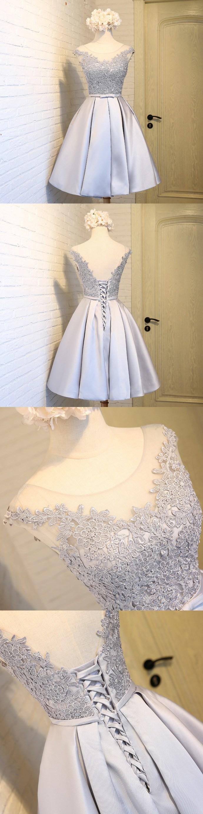 Lace Appliqued Homecoming Dresses, Satin Short Prom Dresses,2018 Hoco Dresses,