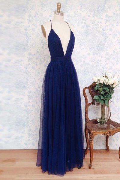 Charming Prom Dress,Deep V Neck Sleeveless Tulle Prom Dresses,Simple Evening