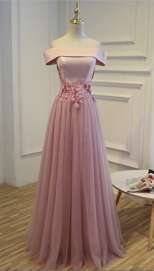 Charming Prom Dress,Tulle Prom Dress,Appliques Prom Dress,Off the Shoulder Prom