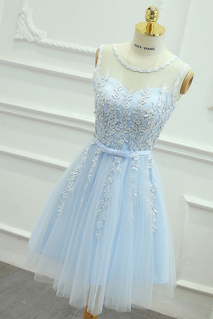 21bef260af3 Cute Round Neck Lace Tulle Blue Prom Dress