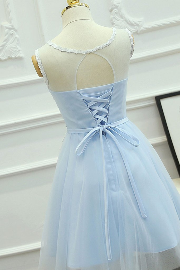 Cute Round Neck Lace Tulle Blue Prom Dress, Homeoming Dresses, Baby Blue