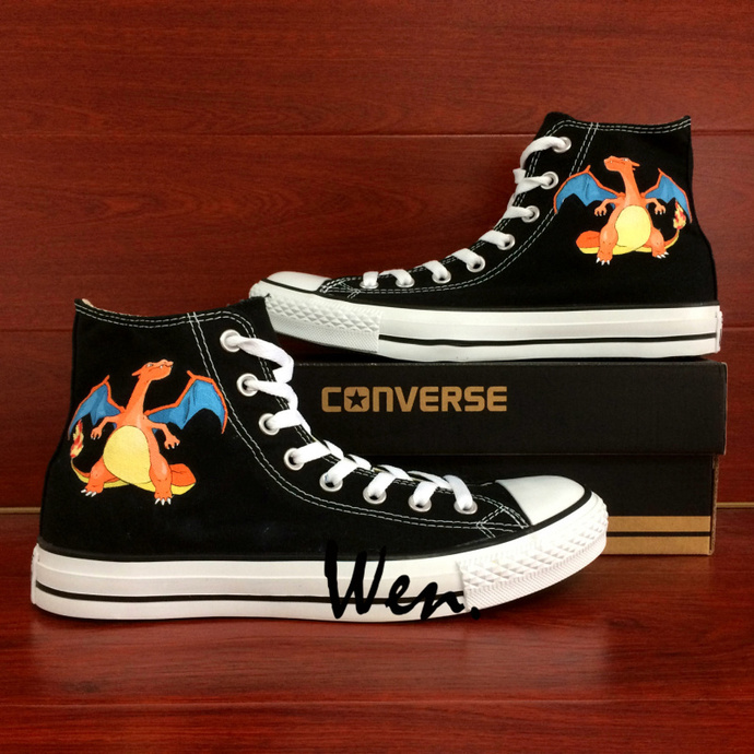 Pokemon Charizard Hand Painted Shoes Black Canvas Hi-Top Converse All Star Shoes
