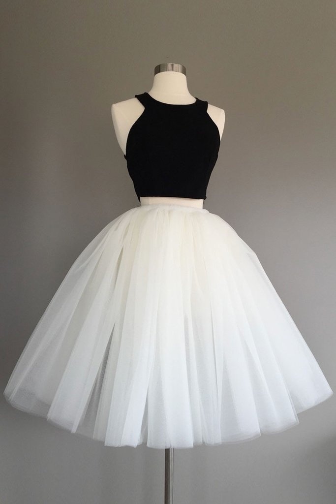 Simple Two Pieces Tulle Short Prom Dress, Cute Homecoming Dress, Black Crop