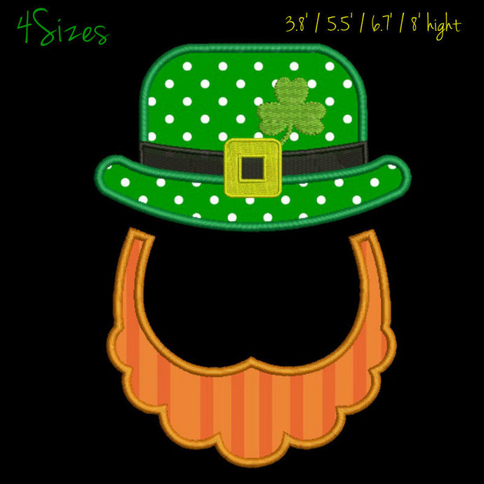 Copy of Shamrock applique embroidery design hat beard St. Patrick's Day machine