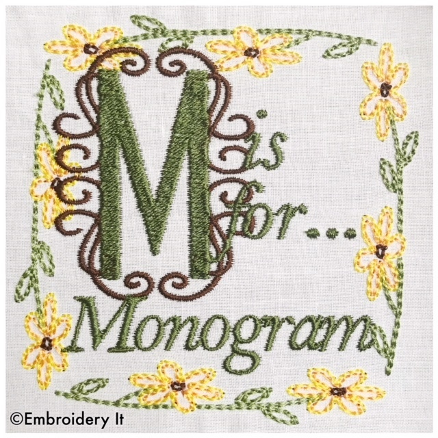 Embroidery Words Alphabet Letter M - Machine Embroidery Design in Pes, Dst, Exp,